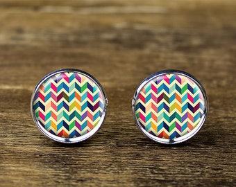 Chevron cufflinks, Colorful Chevron cufflinks, Stripe cufflinks, Chevron accessories
