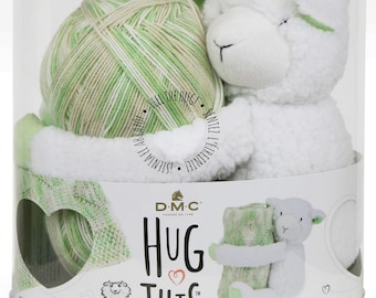 Knit Pattern & Kit, DMC Hug This, Lamb Stuffed Animal, Baby Blanket Yarn, Yarn Kit Lamb, Baby Blanket Kit, Plush Toy, Variegated Yarn Kit