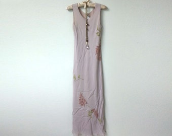 Romantic Vintage Boho Mauve, Dusty Pink, Floral Print Sleeveless Maxi Dress, Scoop Neck Sheath, Sheer Overlay Over Solid Slip