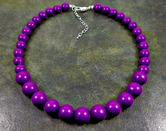Statement Necklace, Purple, Chunky Necklace, Purple Bead Necklace, Beaded, Round Bead Necklace, Purple Necklace, Strand Necklace