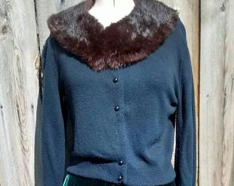 Classic Black Cardigan With a Brown  Fur Collar