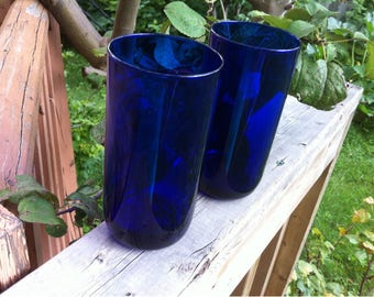 Vintage Libbey Cobalt Blue Glass Drinking Glasses Tumblers Set Of Two