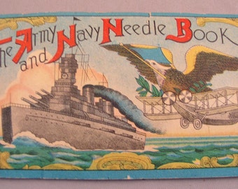WW1 Army Navy Needle Book with Battleship & Biplane Cover - Nearly Complete - Japan
