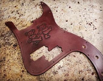 "BLEMISHED Standard 13-hole Modern ""P Bass"" Style Leather Pickguard."
