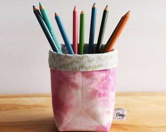 Dreamy Pink Fabric Bucket - Storage, Basket, Multi-use, convertible, office accessories, desk, work, pencil cup, home, holder