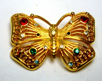 Gold Butterfly Pin, Glittery Red Black White Green Glass Rhinestones, Looks Like 14KT Brooch, Elegant, Traditional 1980s