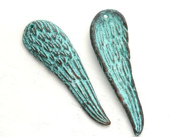Angel Wing pendant bead Green patina Feather charm Copper jewelry charm Long Wing, Lead Free - 1pc - F604
