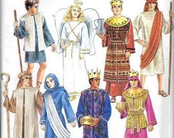 Simplicity 8275 Mens And Misses Nativity Christmas Costume Sewing Pattern Size XS, S, M L, XL Angel Shepherd Kings Wise Men