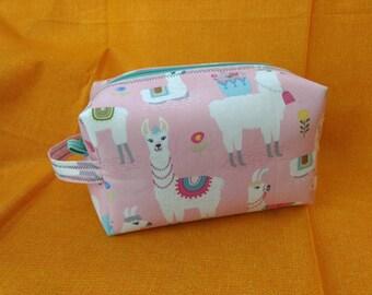 Llama makeup bag, toiletry bag, art bag with handle