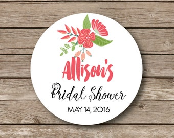 Personalized shower favor stickers , floral bridal stickers, shower favor labels, personalized stickers