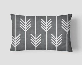 """Charcoal Grey Arrows // Decorative Pillow Cover 12""""x18"""" // Lumbar Pillow // Rectangular Throw Pillow"""
