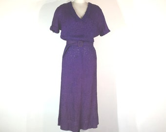 1930s purple silk ribbon dress - medium - 1930s purple dress - 1930s silk ribbon dress - 1930s lace dress - 1940s purple dress - 1940s dress