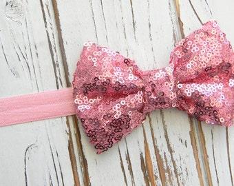 Pink Sequin Bow Headband - Sequin Bow Headband - Baby Bow Headband