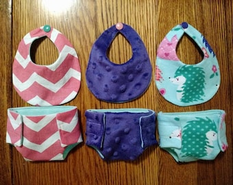 Handmade Baby Doll Diapers and Bibs