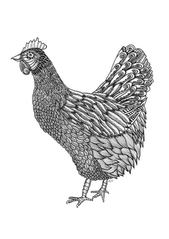 Huhn-Druck Huhn-Kunst Huhn Illustration Schwarz und