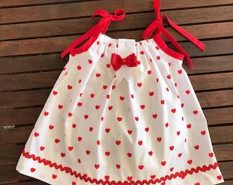 Toddler Girls Heart Dress - Handmade