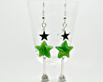 Wicked Earrings, Wicked Jewellery, Wizard of Oz, Wicked Musical, Witches Droppers, Broom Danglers, Gift For Her