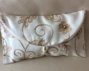Brides clutch bag embroidered organza with pearls and beads