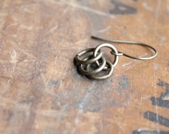 Malindi Antique Brass Rings Dangle Earrings on Artisanal Brass Ear Wire - Tribal African Ethnic Chic