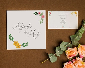 Illustrated Wedding Invitations | Floral Wedding Invitation | Elegant Wedding Invitation | Download DIGITAL PDF to 300 dpi