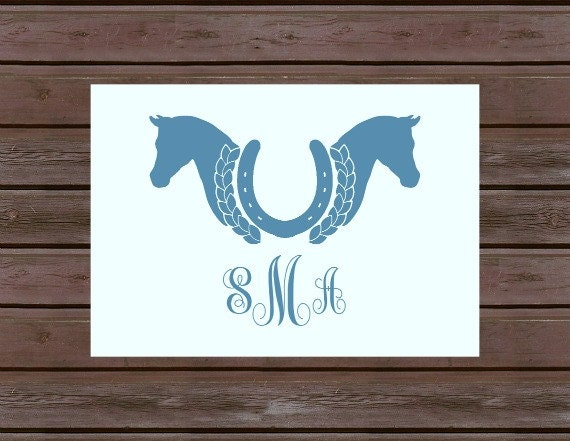 Monogrammed Equestrian Horse Shoe Note Card-Set of 10