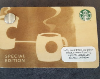 Starbucks Upcycled Refillable Giftcard Notebook - 2012 Special Edition Birch Wood Coffee Cups