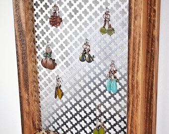 Wall Mounted Jewelry Organizer, Wall hanging Earring Organizer, Moroccan Mesh Jewelry Rack, Jewelry Holder, Jewelry Display, Home Decor