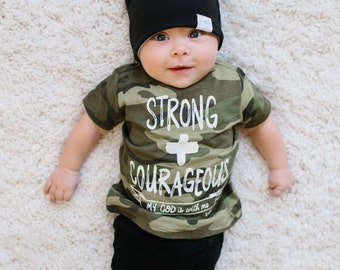 Strong and courageous kids shirt, graphic tee, christian t-shirt, brave kids shirt, baby clothing, scripture, Joshua 1:9