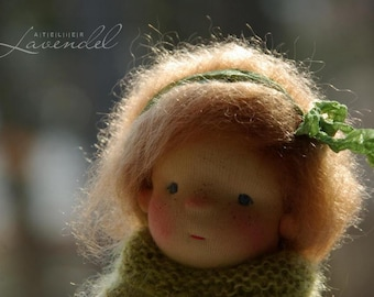 """Dora Waldorf Inspired Doll OOAK Doll  by Atelier Lavendel Natural Fibers Doll Cloth Doll 9"""" ECO friendly"""