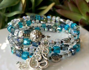 108-Bead Crystal Wrist Mala - handmade
