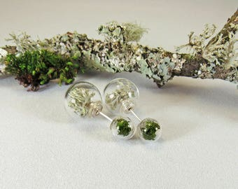 Real moss earrings, lichen earrings, nature studs, moss double studs, double stud earrings