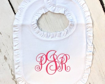 Monogram Bib, Girls Monogram Bib, Ruffle Monogram Bib, Personalized Bib, Baby Girl Bib, Embroidery Bibs, Ruffle Bibs, Pink Bibs, Drool Bib