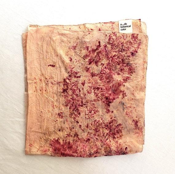 Botanically Dyed Silk Bandana Scarf / Plant Dyed / Naturally Dyed / Dyed Cotton / Eco Fashion / Pink Scarf / Lightweight Cotton Scarf