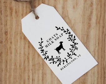 Goat Milk Soap Stamp - Custom Soap Stamp - Handmade Goats Milk Soap - Homemade Soap Labels - Barn Wedding Favor - Farmhouse Favor Farm Tags