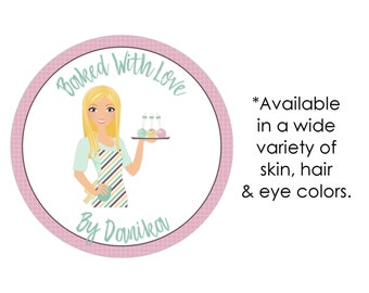 Baked good labels, baked with love stickers, custom baking labels, personalized baking stickers, baking gift tags, packaging stickers