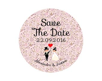 "Button, mirror, bottle opener magnet wedding ""Save the Date"" Liberty rose"