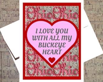 Ohio State Card, Funny I Love You Card, Buckeye Card, Valentine Card, Funny Valentine Card, I Love You Card, Anniversary Card, OSU Card