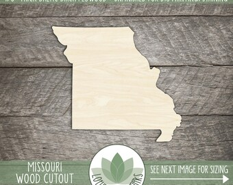 Missouri, Unfinished Wood Missouri Laser Cut Shape, DIY Craft Supply, Many Size Options