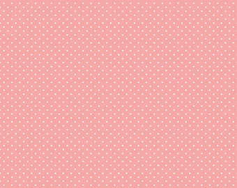 Coral Pink Polka Dot Fabric - Riley Blake Swiss Dot - Coral Polka Dot - Coral and White Polka Dot Fabric By The 1/2 Yard