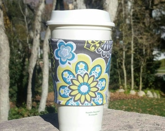 FREE SHIPPING UPGRADE with minimum -  Fabric coffee cozy / cup sleeve / coffee sleeve / drink cozy - Bold Yellow and Teal Flowers on Gray