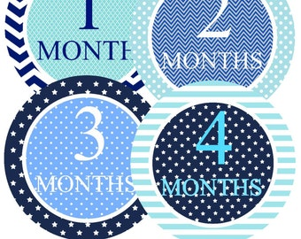 Month Sticker Boy Baby Month Stickers Bodysuit Monthly Stickers Milestone Stickers Monthly Baby Stickers Photo Sticker Month by Month