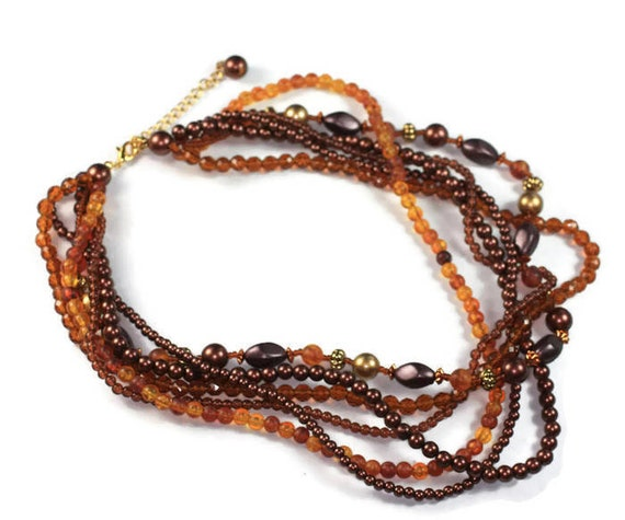 Autumn Colors Necklace Multi Strand Bronze Orange Gold Tone Brown Bead Necklace Vintage