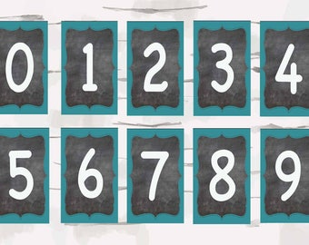 Numbers 0-9 classroom decor, Teaching decor, Chalkboard and Aqua colors, instant download, 5x3 jpg