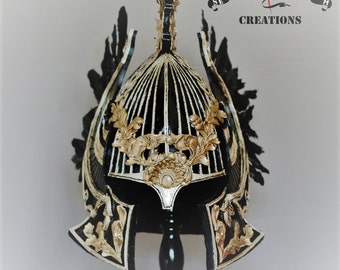 Knight helmet fantasy Semper Vivum Creations black and gold colors
