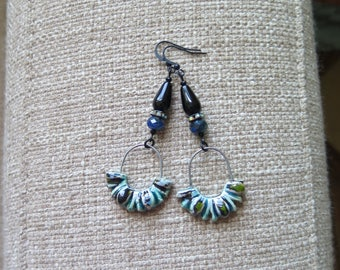 unique black rhinestone earrings, black and blue ceramic earrings, unusual ceramic and glass earrings, very long earrings, statement earring