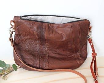 ROSE Hobo bag brown leather crossbody