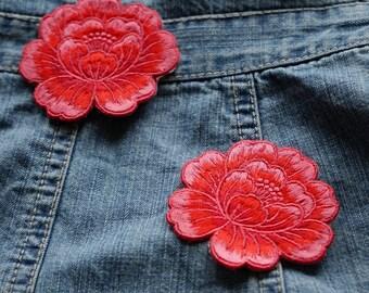 Lotus écusson patch thermocollant applique fleur 6.5cm x 6 cm