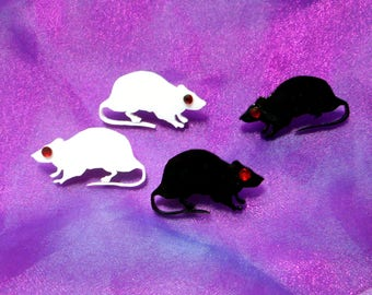 Black or White RATS Stud Acrylic Earrings with Hypoallergenic Earring Posts