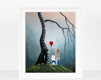 Alice And The Enchanted Key - Alice In Wonderland - Alice Art - Wonderland Prints - White Rabbit - Fantasy Fairytale Stories - Decor Ideas