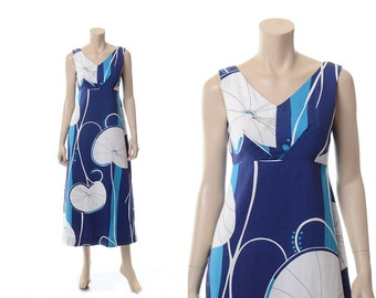 Vintage Hawaiian Dress, 70s Hawaiian Dress, 1970s Sears Hawaiian Fashions MCM Tropical Tiki Bark Cloth Luau Maxi Dress / S